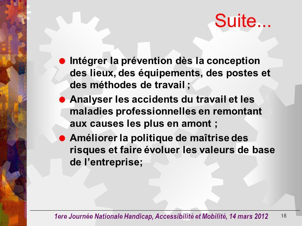 Suite... Intégrer la prévention dès la conception des lieux, des équipements, des postes et des méthodes de travail ;