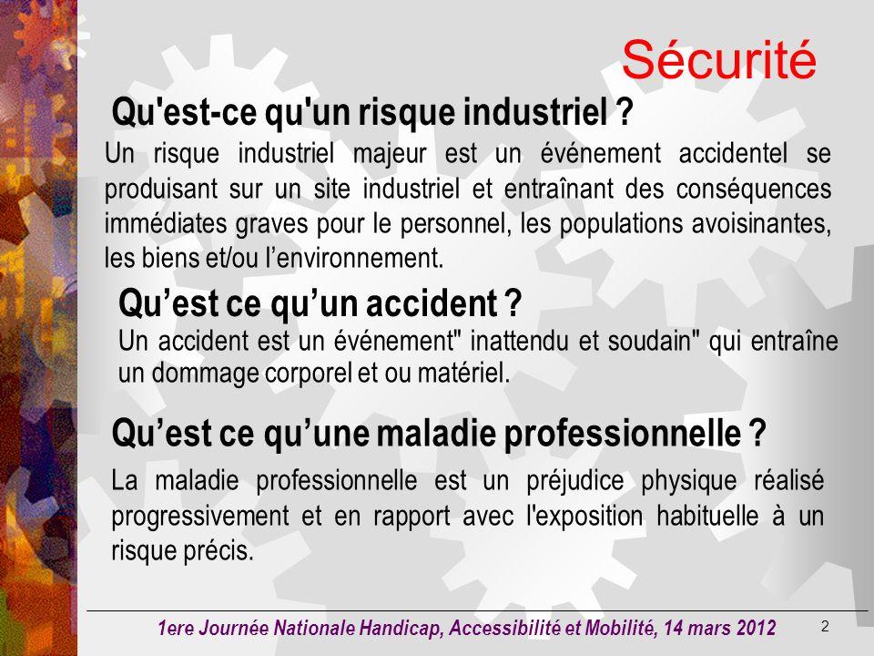 Sécurité Qu est-ce qu un risque industriel