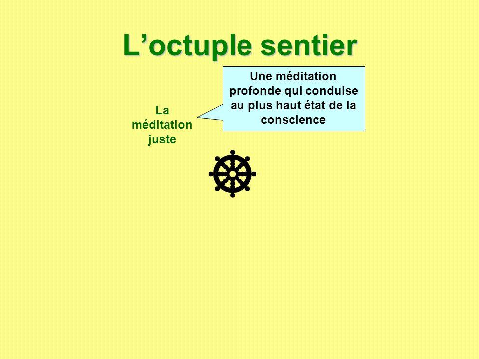 L'octuple sentier Une méditation profonde qui conduise au plus haut état de la conscience. La méditation juste.