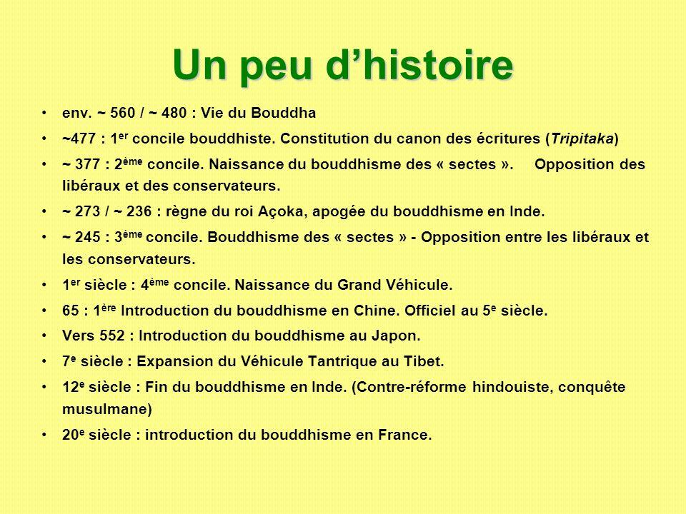Un peu d'histoire env. ~ 560 / ~ 480 : Vie du Bouddha