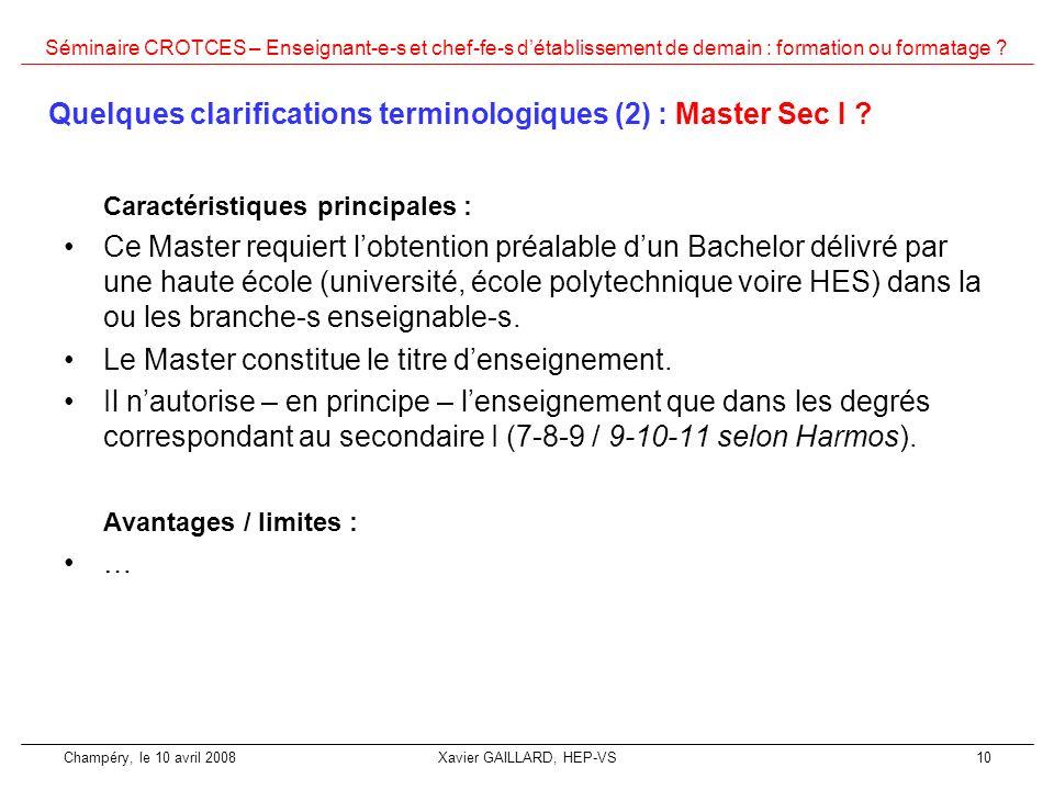 Quelques clarifications terminologiques (2) : Master Sec I