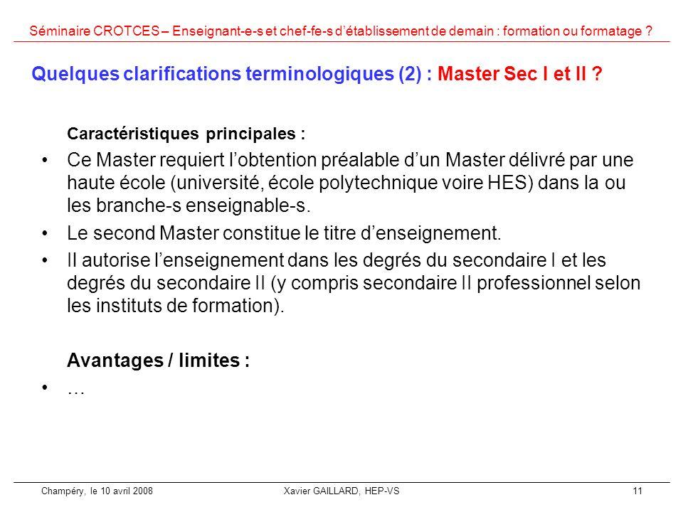 Quelques clarifications terminologiques (2) : Master Sec I et II