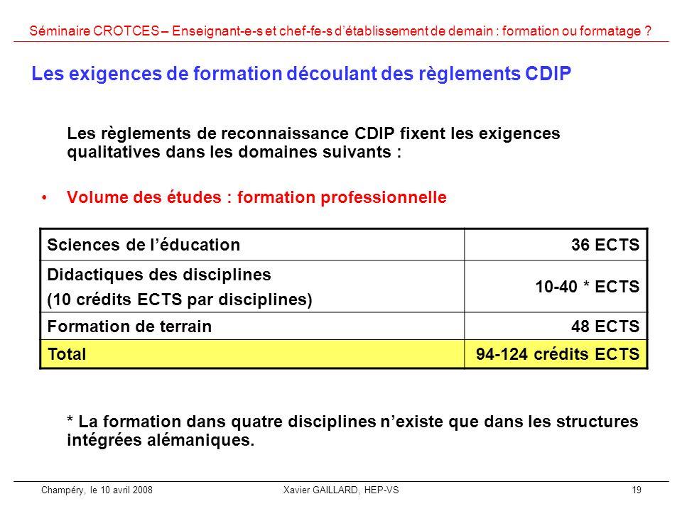 Les exigences de formation découlant des règlements CDIP