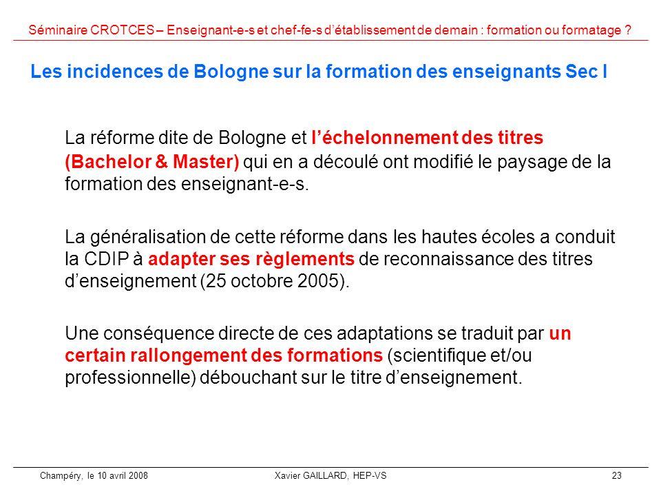 Les incidences de Bologne sur la formation des enseignants Sec I