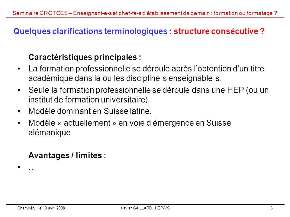 Quelques clarifications terminologiques : structure consécutive