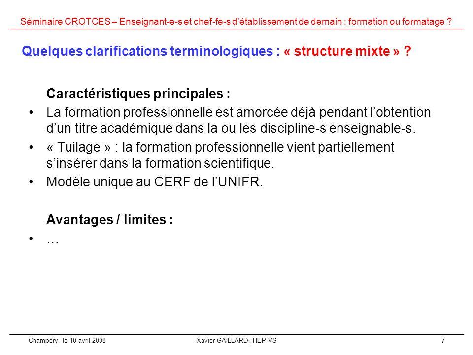 Quelques clarifications terminologiques : « structure mixte »