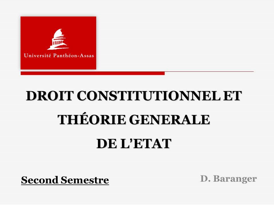 DROIT CONSTITUTIONNEL ET THÉORIE GENERALE DE L'ETAT Second Semestre