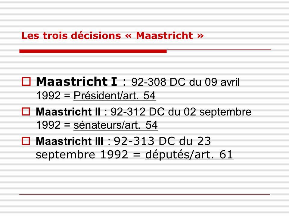 Les trois décisions « Maastricht »