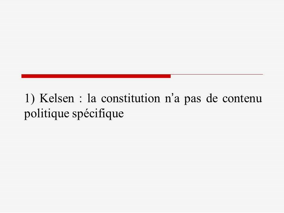 1) Kelsen : la constitution n'a pas de contenu politique spécifique