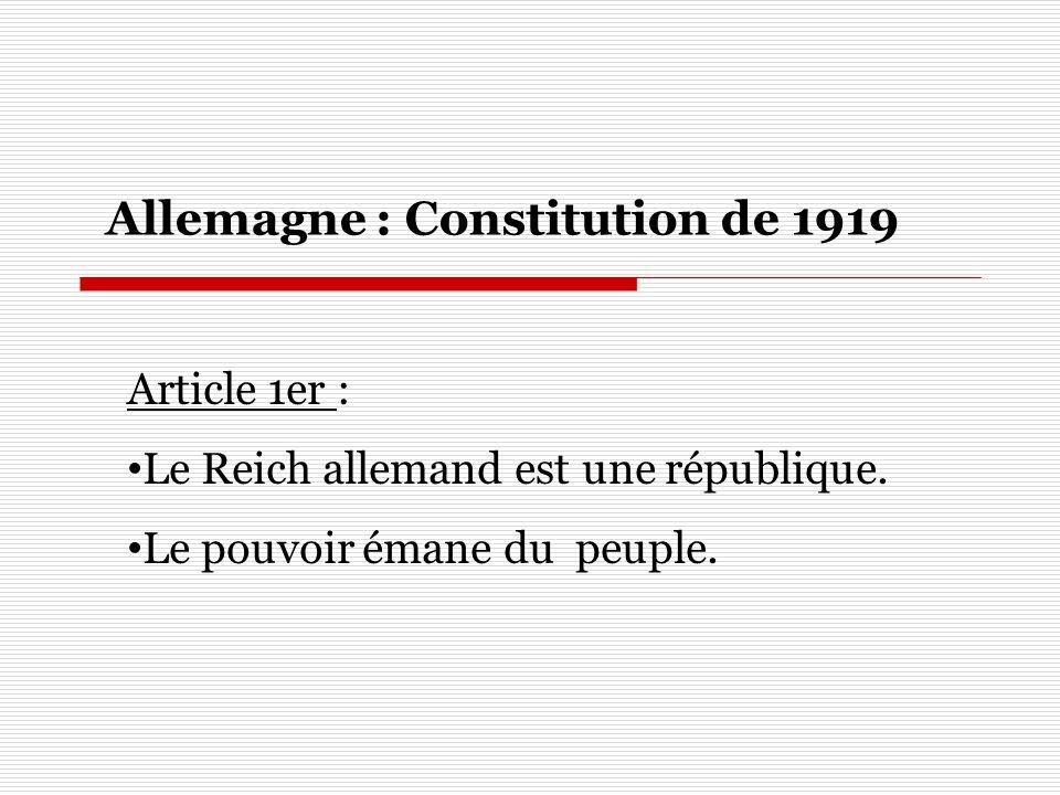 Allemagne : Constitution de 1919