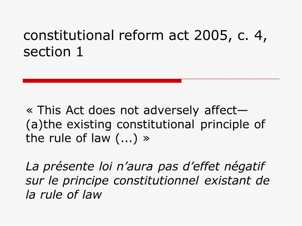 constitutional reform act 2005, c. 4, section 1