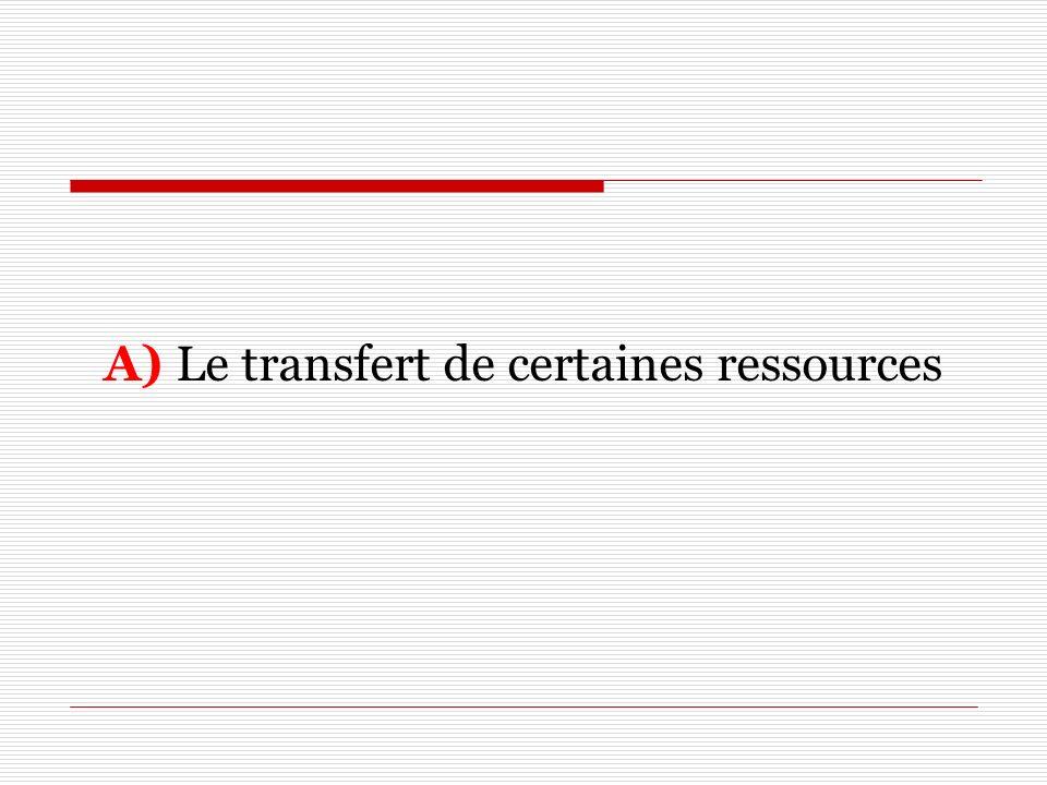 A) Le transfert de certaines ressources