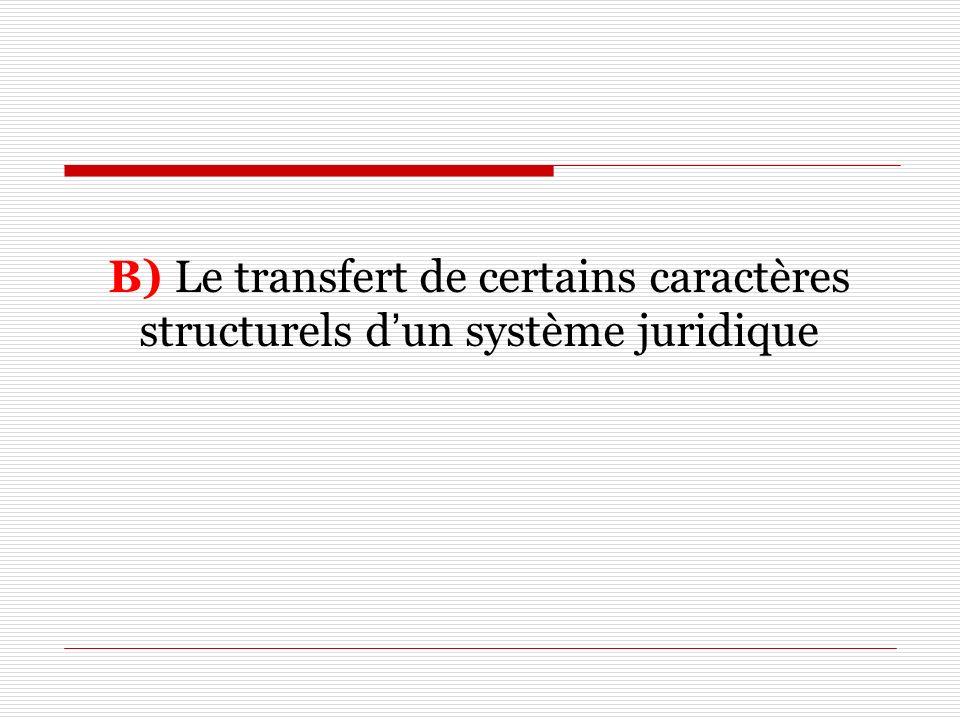 B) Le transfert de certains caractères structurels d'un système juridique