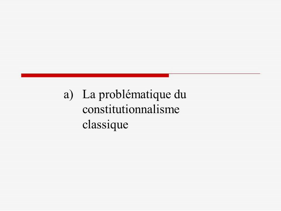 a) La problématique du constitutionnalisme classique