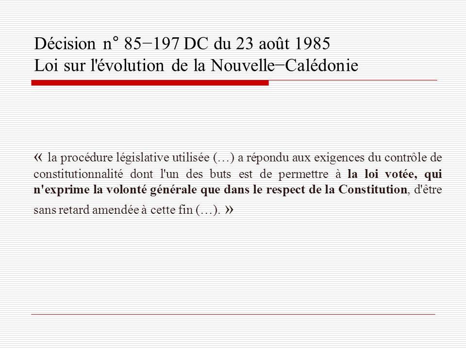 Décision n° 85−197 DC du 23 août 1985 Loi sur l évolution de la Nouvelle−Calédonie