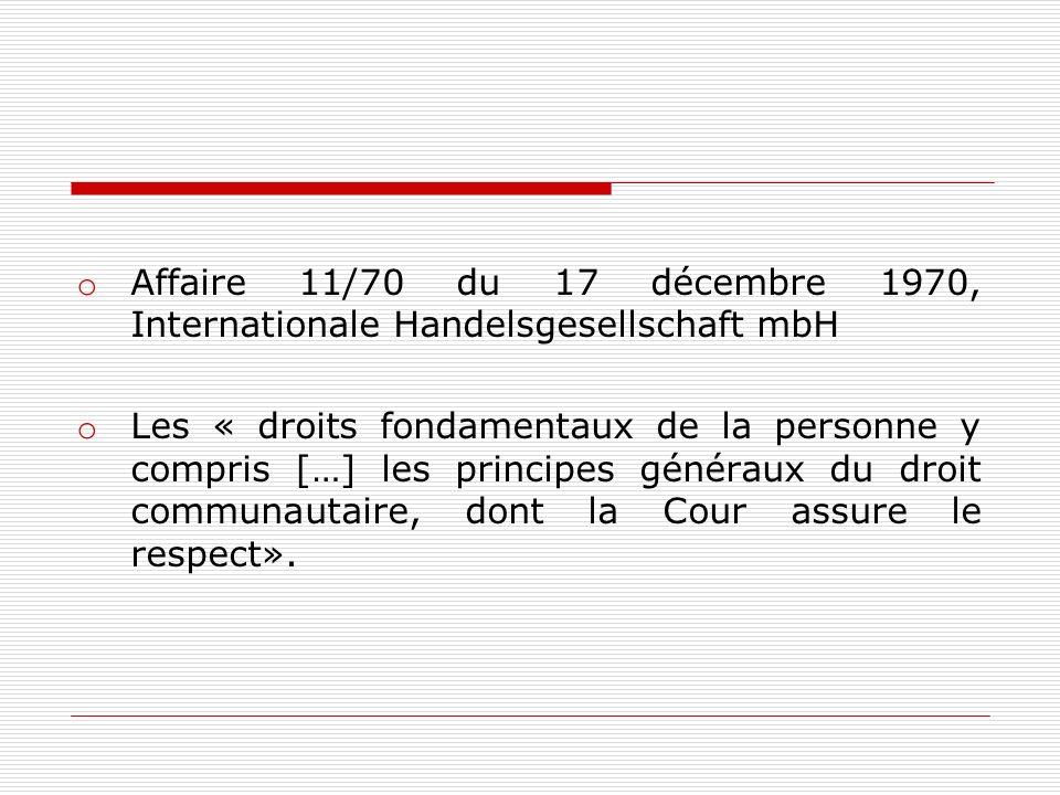 Affaire 11/70 du 17 décembre 1970, Internationale Handelsgesellschaft mbH