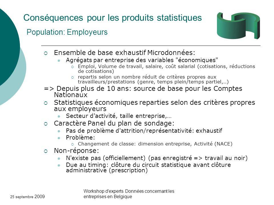 Conséquences pour les produits statistiques Population: Employeurs