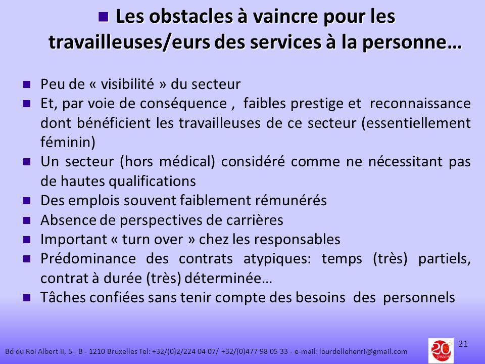Les obstacles à vaincre pour les travailleuses/eurs des services à la personne…