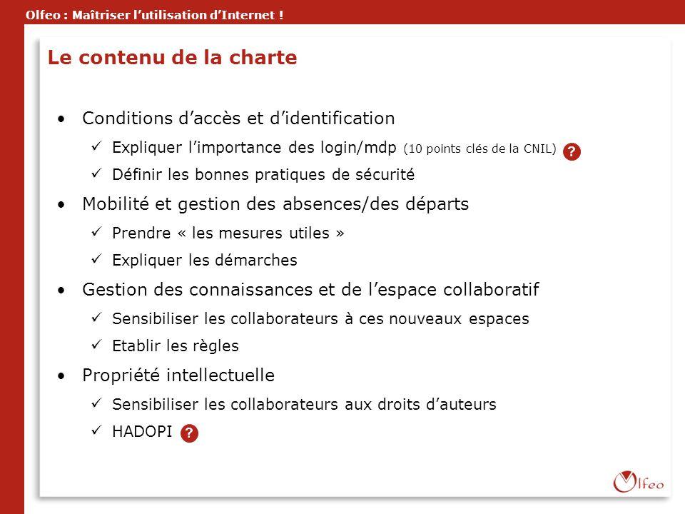Le contenu de la charte Conditions d'accès et d'identification