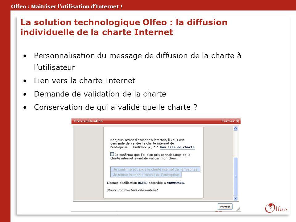 La solution technologique Olfeo : la diffusion individuelle de la charte Internet