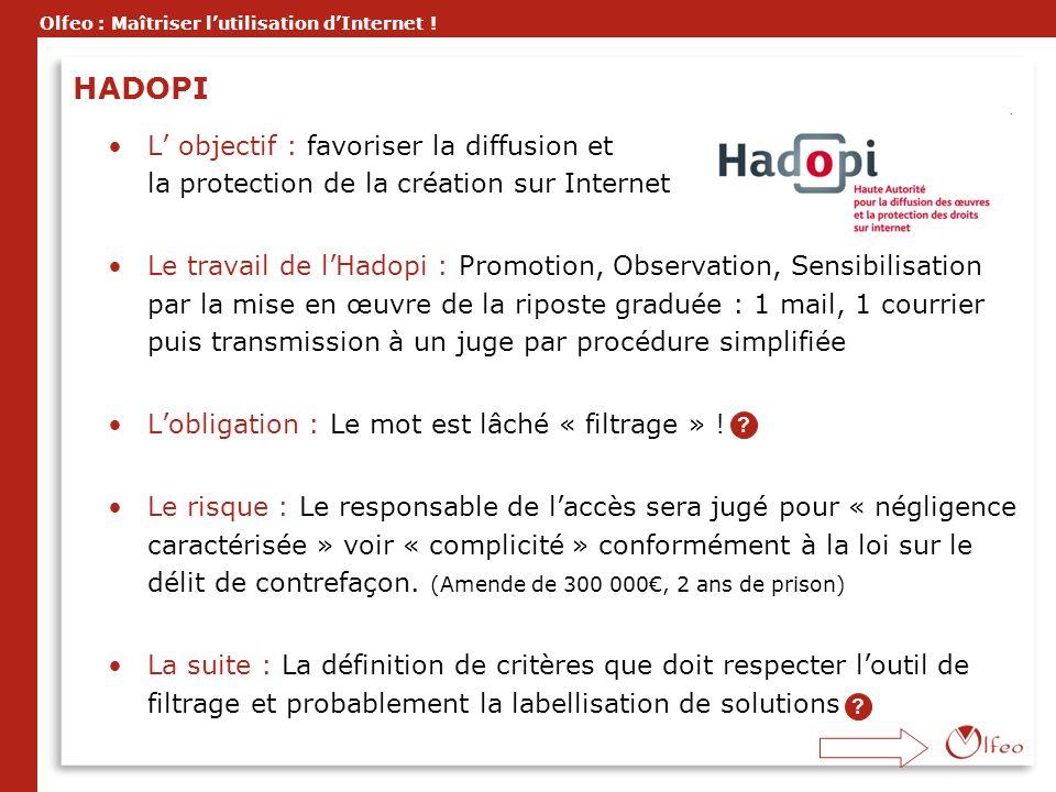 HADOPI L' objectif : favoriser la diffusion et la protection de la création sur Internet.