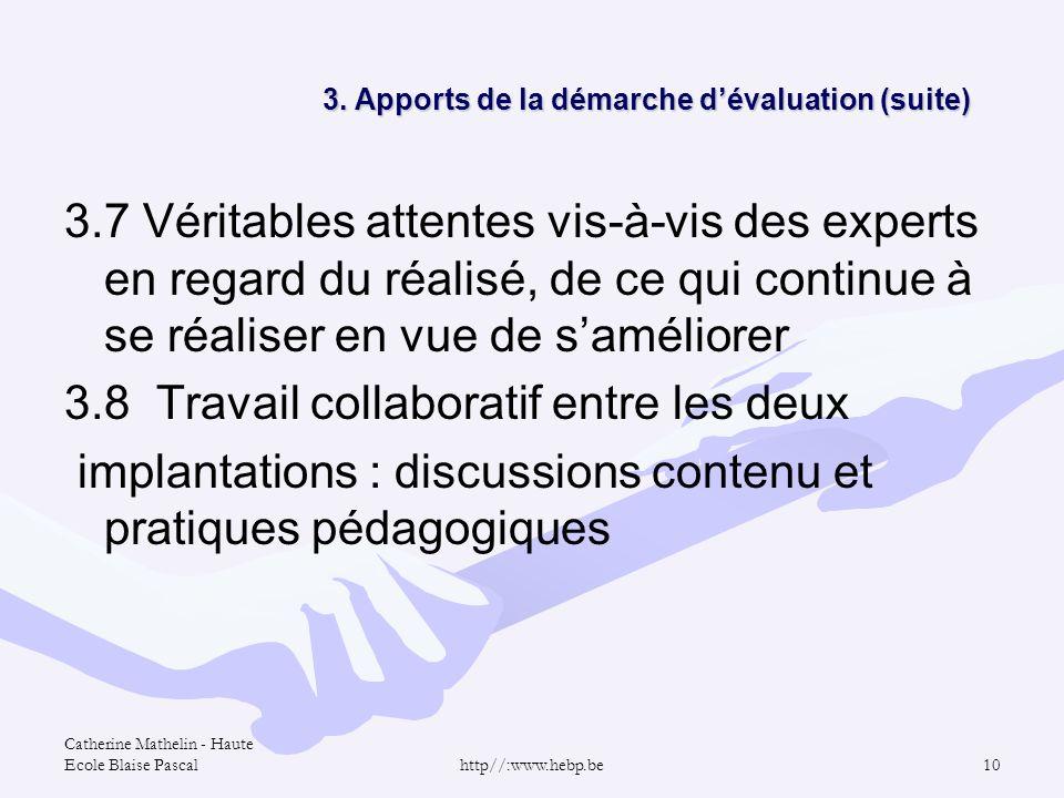 3. Apports de la démarche d'évaluation (suite)