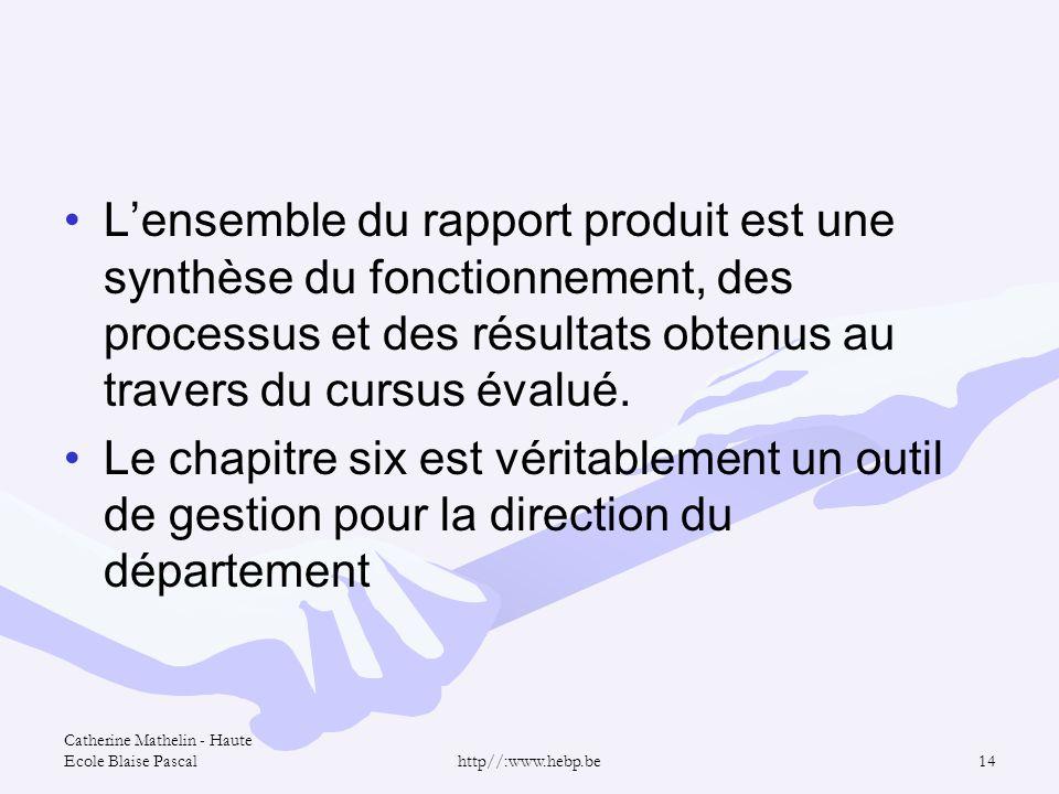 L'ensemble du rapport produit est une synthèse du fonctionnement, des processus et des résultats obtenus au travers du cursus évalué.