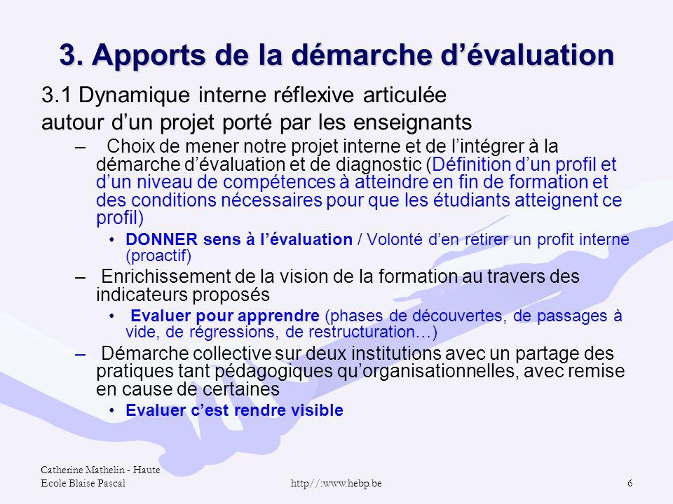 3. Apports de la démarche d'évaluation