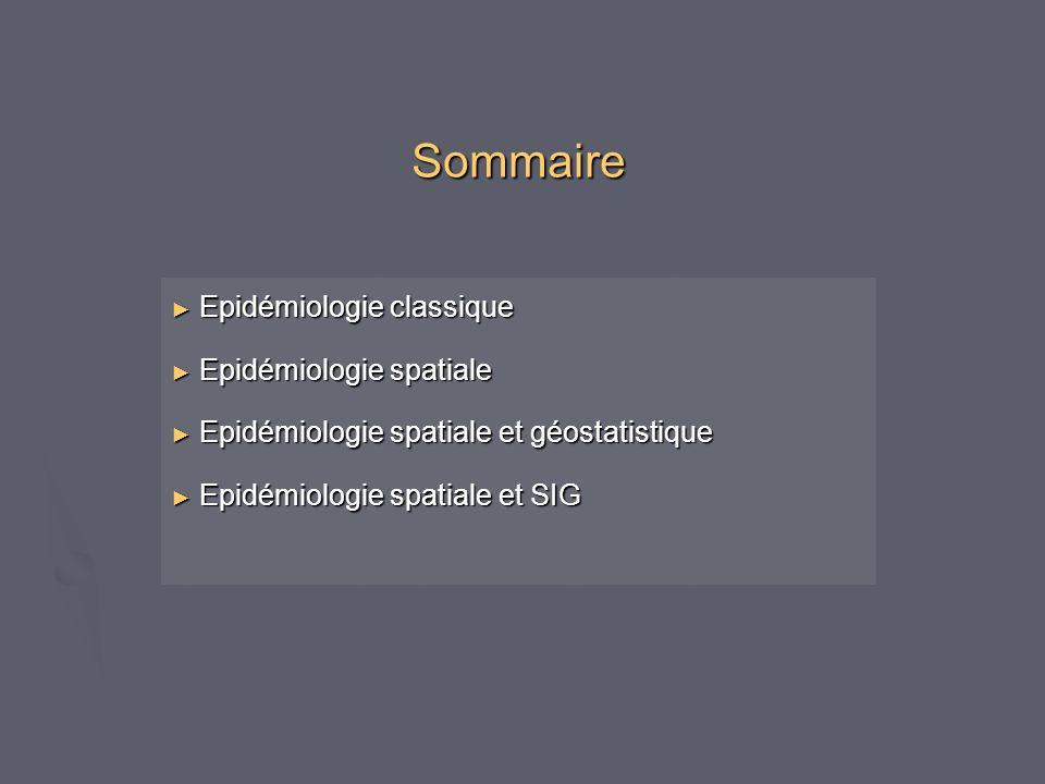 Sommaire Epidémiologie classique Epidémiologie spatiale