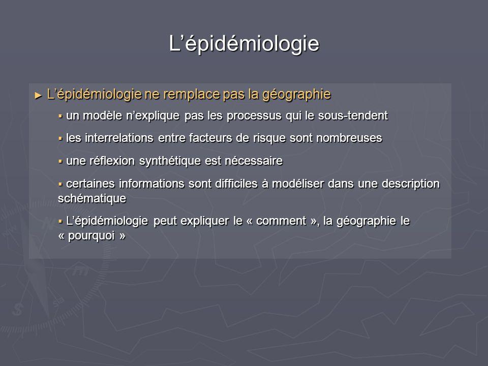 L'épidémiologie L'épidémiologie ne remplace pas la géographie