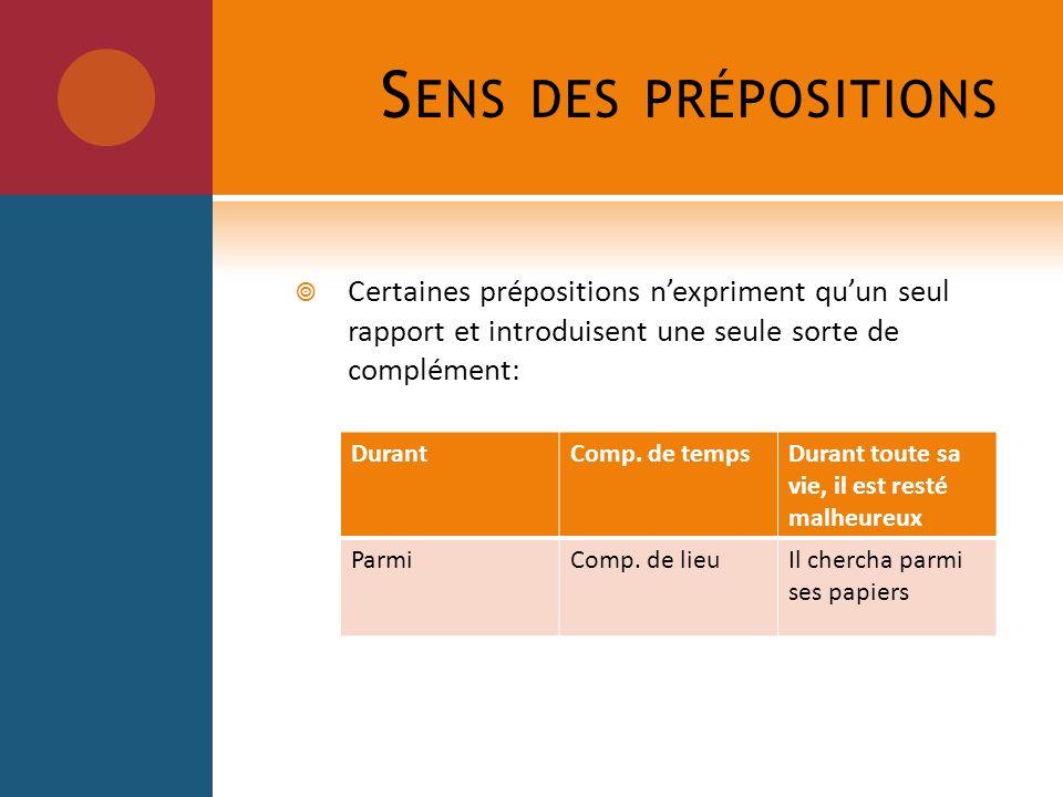 Sens des prépositions Certaines prépositions n'expriment qu'un seul rapport et introduisent une seule sorte de complément: