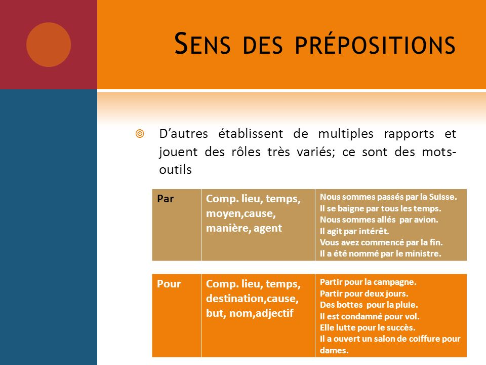 Sens des prépositions D'autres établissent de multiples rapports et jouent des rôles très variés; ce sont des mots- outils.