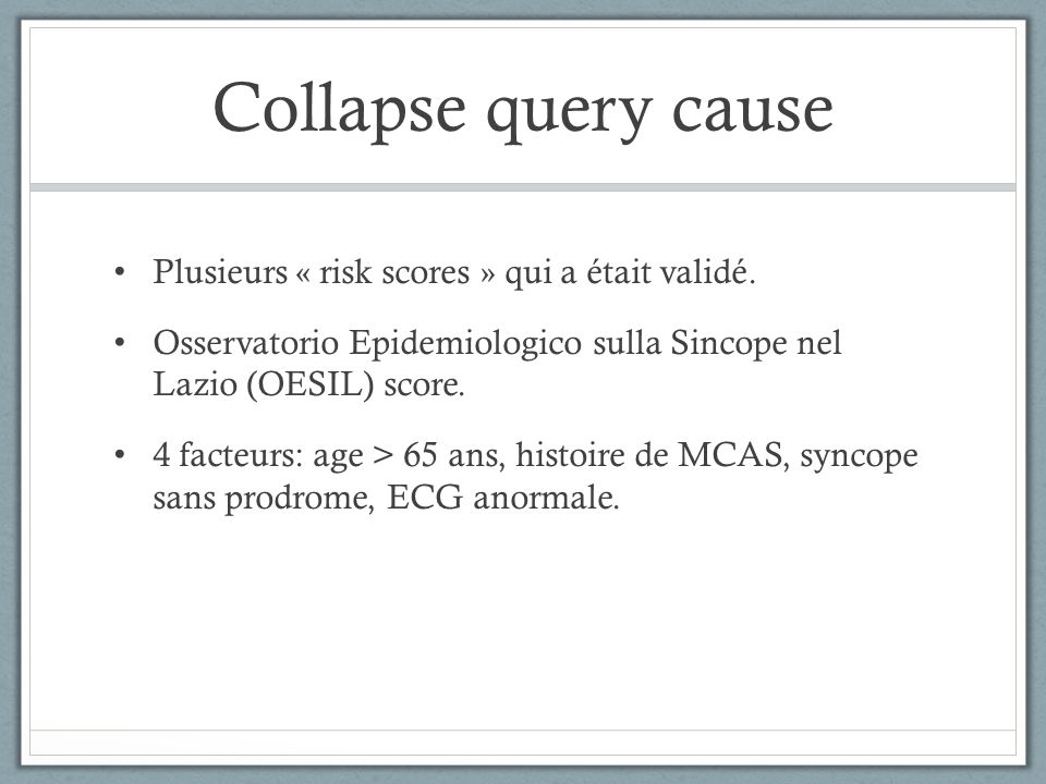 Collapse query cause Plusieurs « risk scores » qui a était validé.
