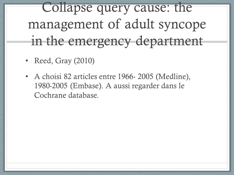 Collapse query cause: the management of adult syncope in the emergency department