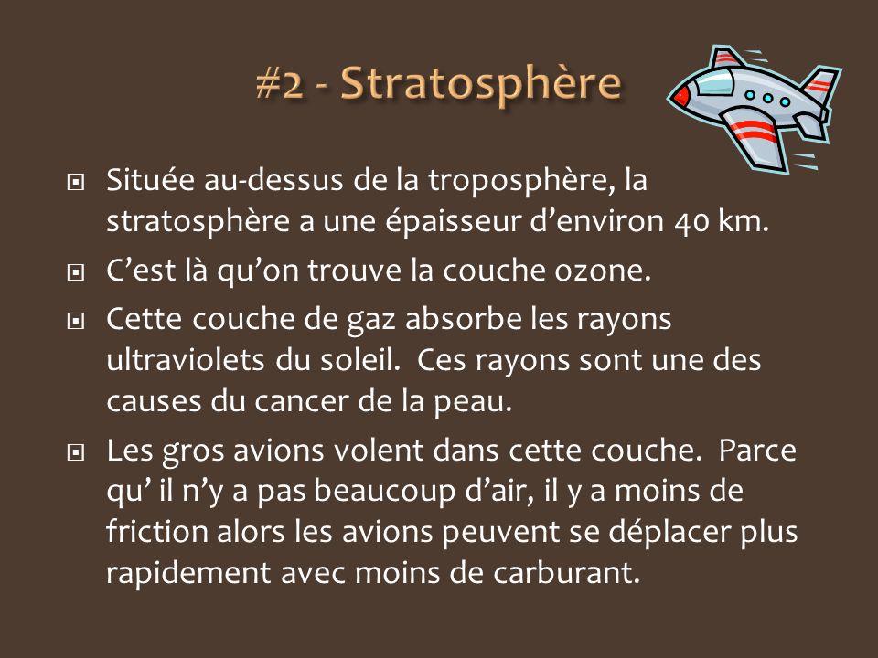 #2 - Stratosphère Située au-dessus de la troposphère, la stratosphère a une épaisseur d'environ 40 km.