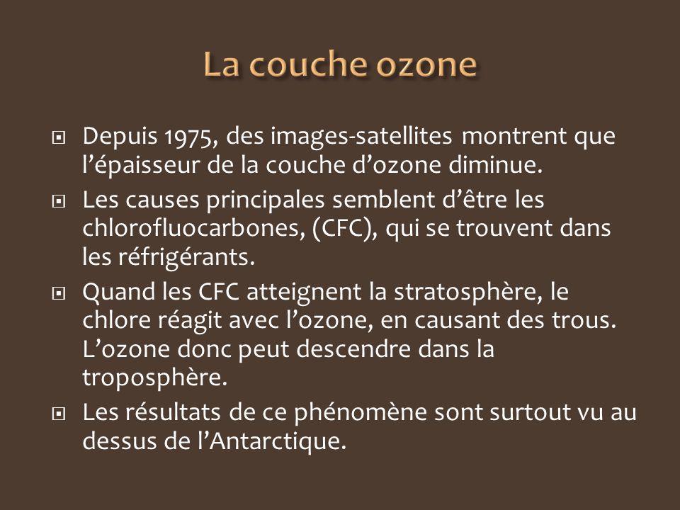 La couche ozone Depuis 1975, des images-satellites montrent que l'épaisseur de la couche d'ozone diminue.