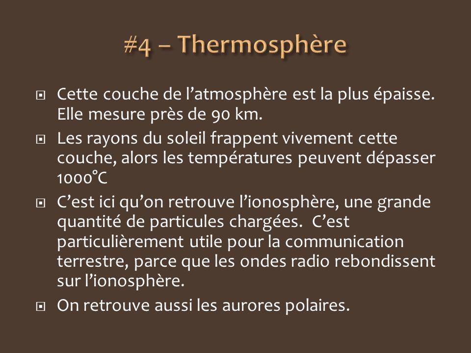 #4 – Thermosphère Cette couche de l'atmosphère est la plus épaisse. Elle mesure près de 90 km.