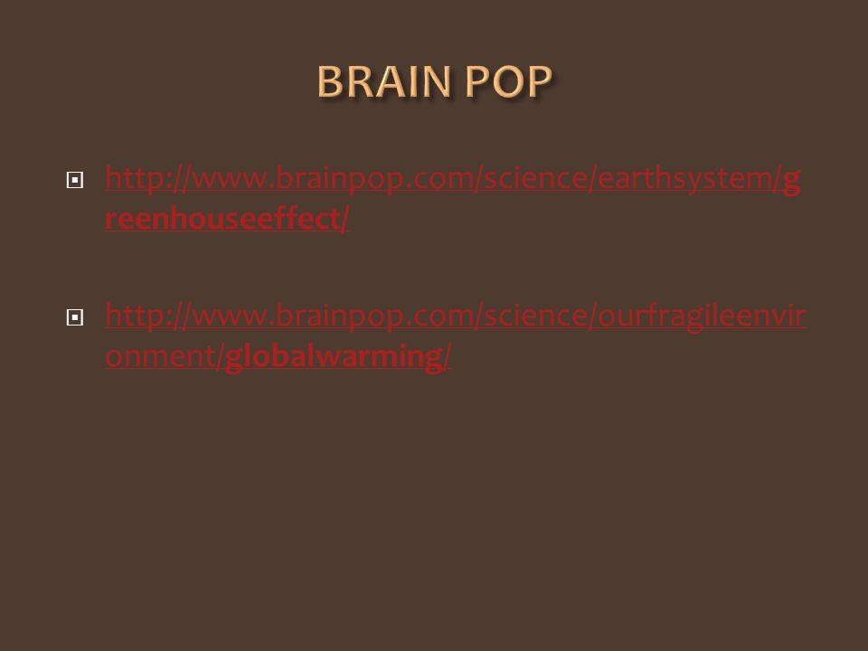 BRAIN POP http://www.brainpop.com/science/earthsystem/greenhouseeffect/ http://www.brainpop.com/science/ourfragileenvironment/globalwarming/