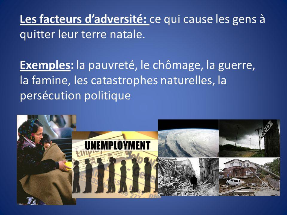 Les facteurs d'adversité: ce qui cause les gens à quitter leur terre natale.