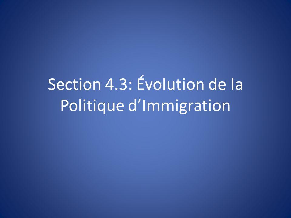 Section 4.3: Évolution de la Politique d'Immigration