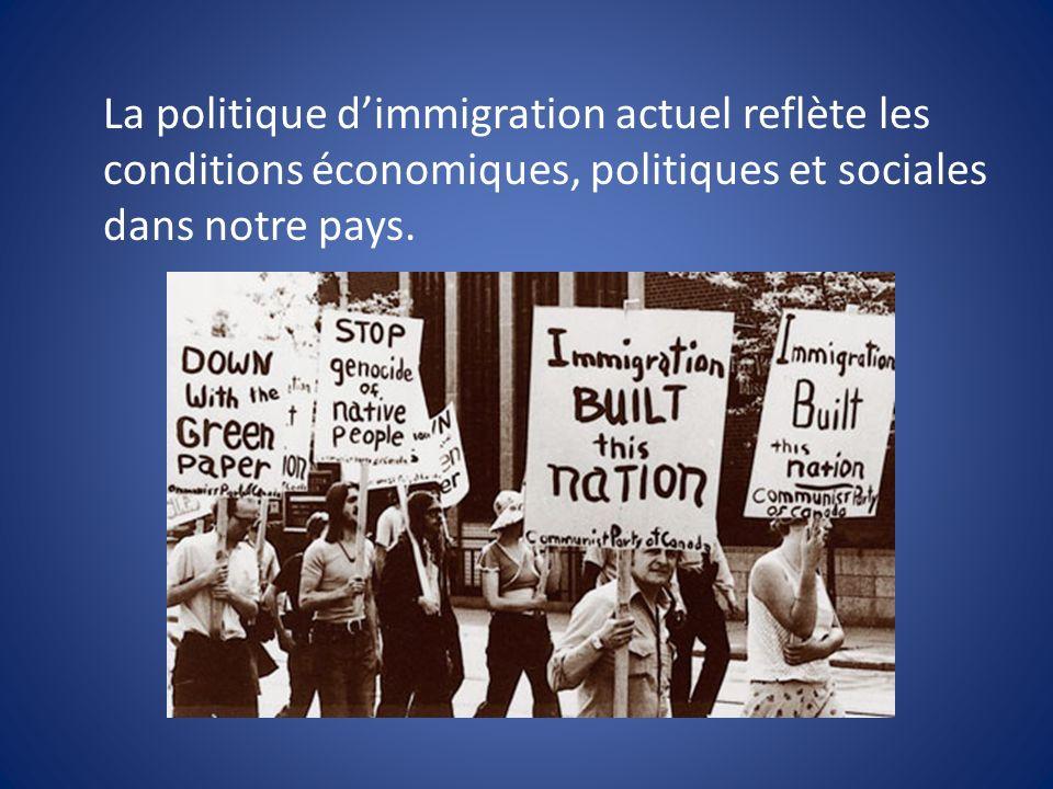 La politique d'immigration actuel reflète les conditions économiques, politiques et sociales dans notre pays.