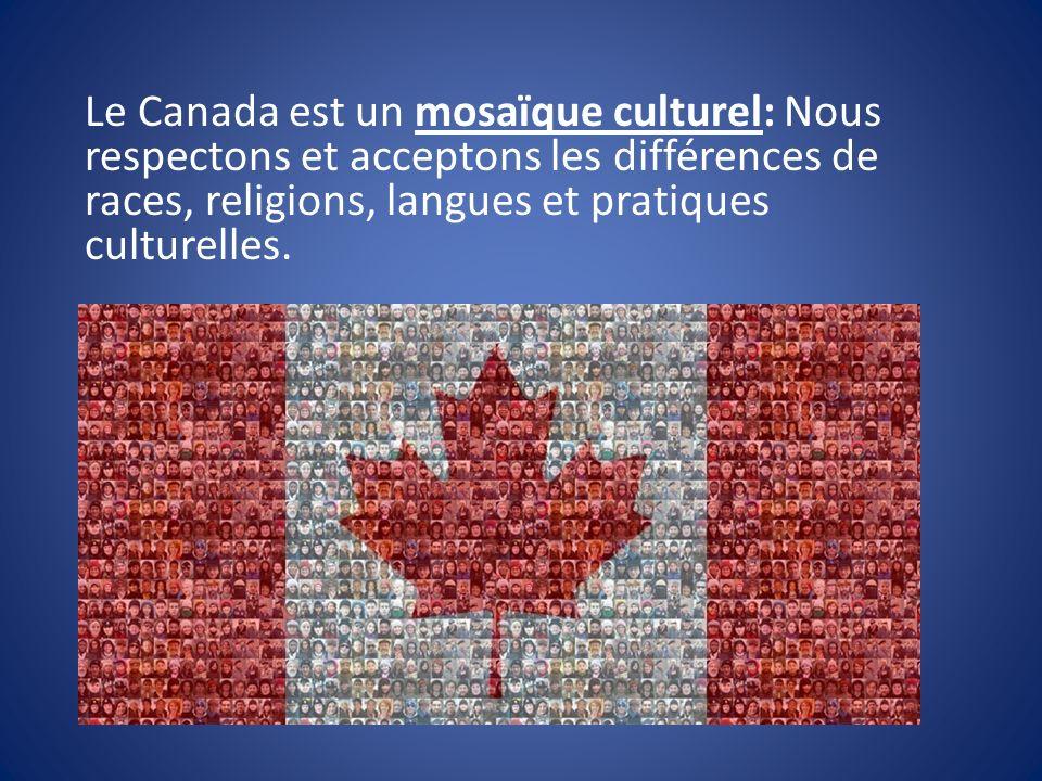 Le Canada est un mosaïque culturel: Nous respectons et acceptons les différences de races, religions, langues et pratiques culturelles.