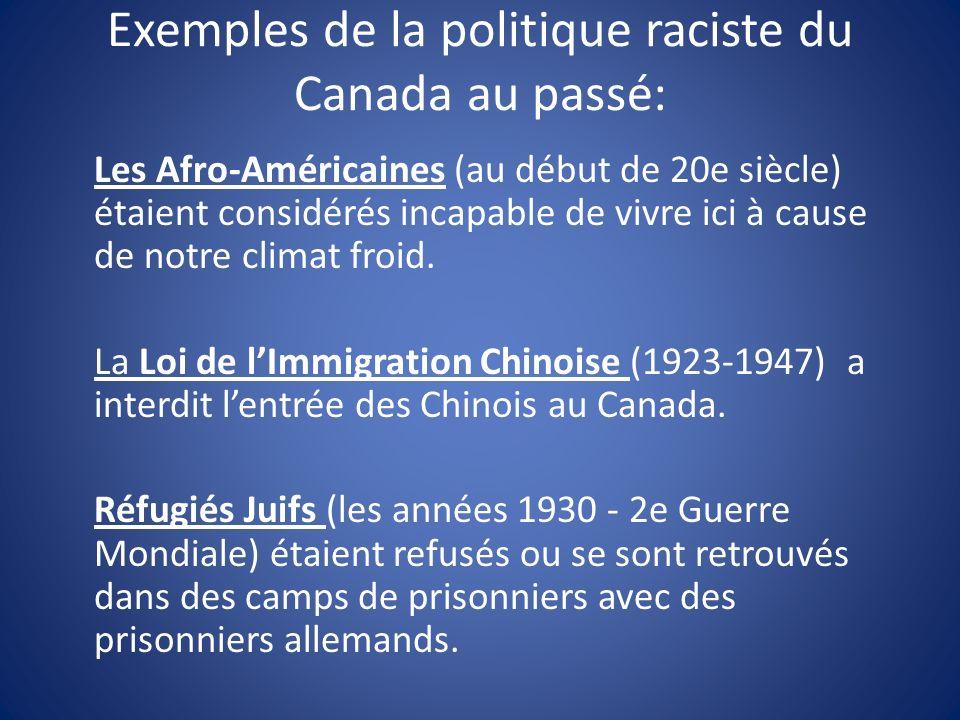 Exemples de la politique raciste du Canada au passé: