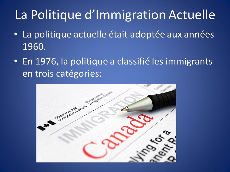 La Politique d'Immigration Actuelle