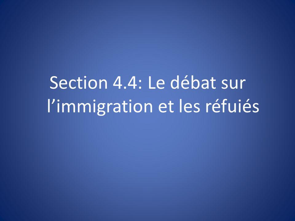 Section 4.4: Le débat sur l'immigration et les réfuiés