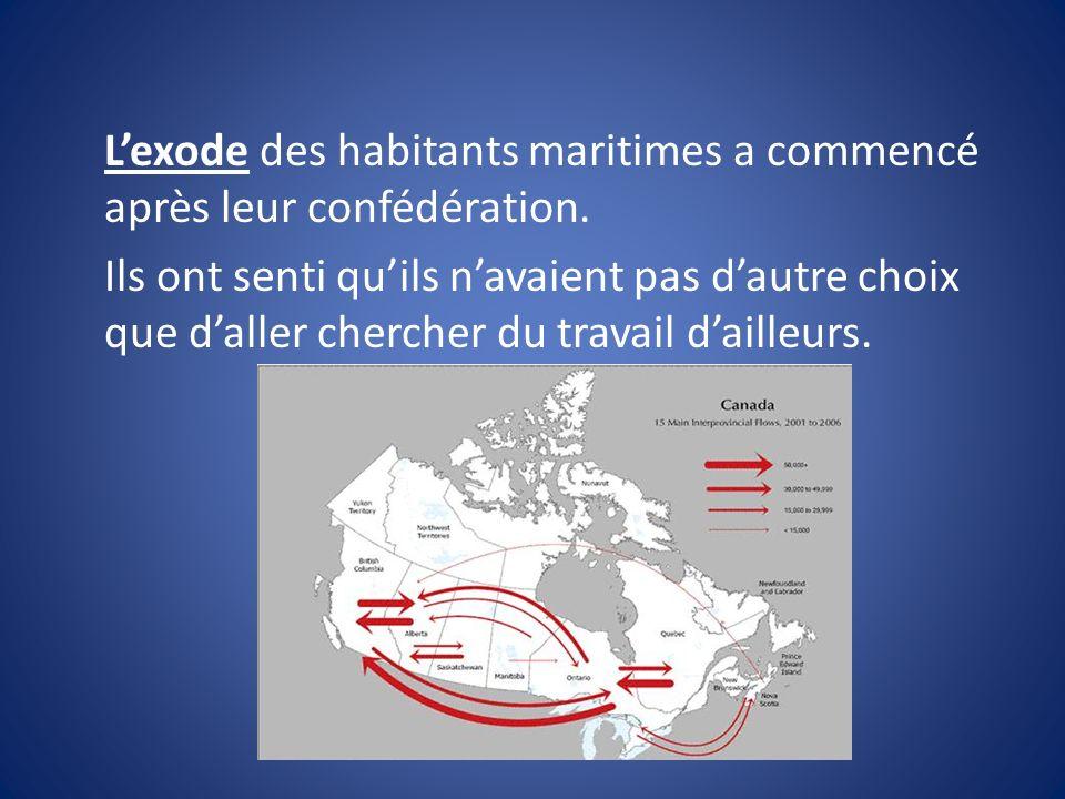 L'exode des habitants maritimes a commencé après leur confédération