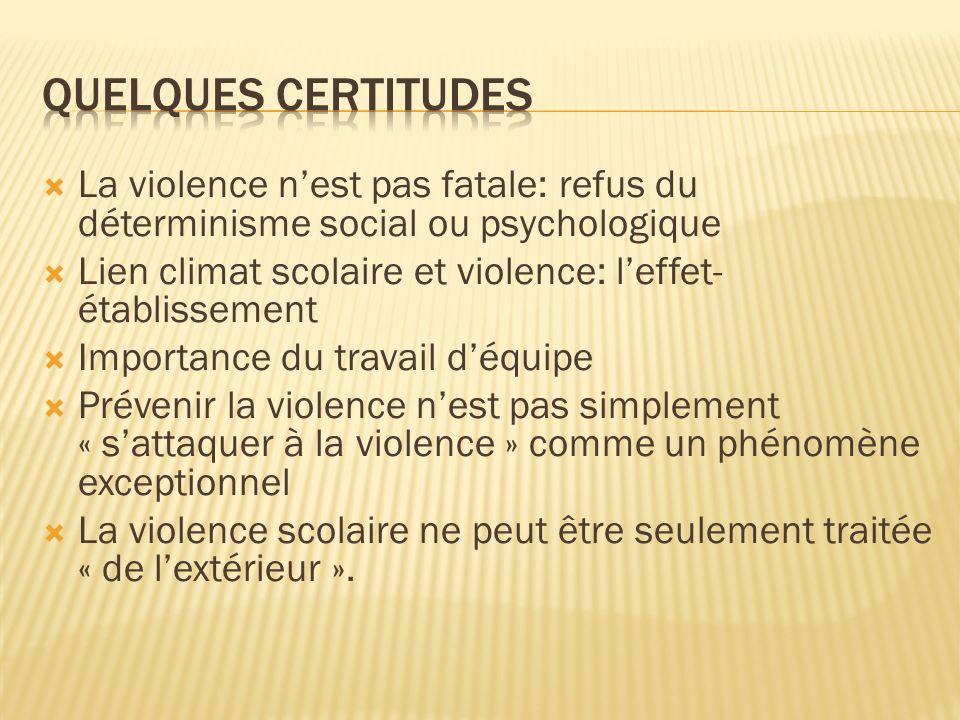 Quelques certitudes La violence n'est pas fatale: refus du déterminisme social ou psychologique.