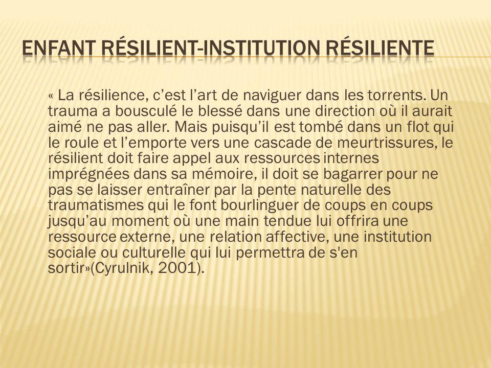 Enfant résilient-institution résiliente