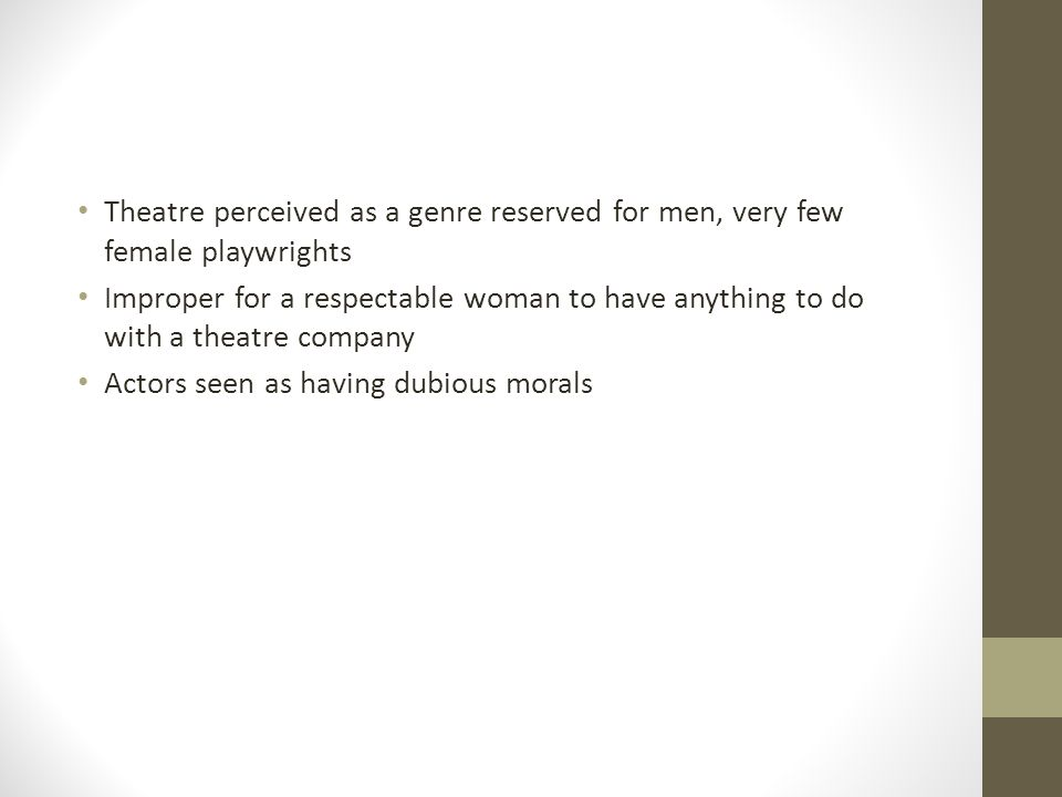 Theatre perceived as a genre reserved for men, very few female playwrights