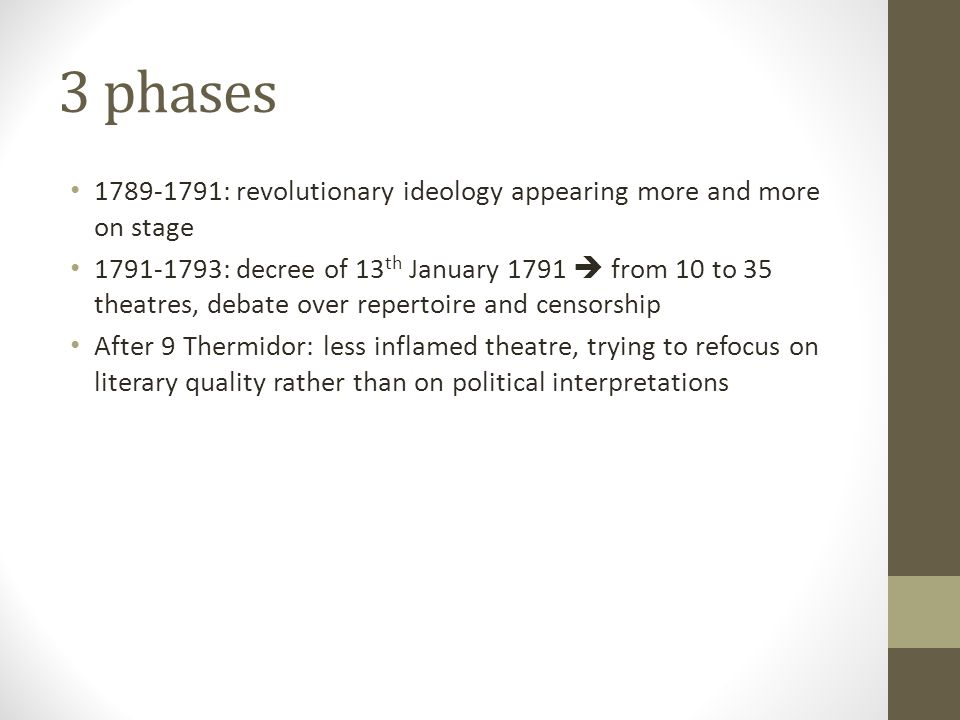 3 phases 1789-1791: revolutionary ideology appearing more and more on stage.